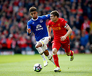 Mason Holgate of Everton chases after James Milner of Liverpool during the English Premier League match at Anfield Stadium, Liverpool. Picture date: April 1st 2017. Pic credit should read: Simon Bellis/Sportimage