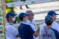 Team Brazil, Pessoa Rodrigo, BRA, Mansur Yuri, BRA, Guerdat Philippe, SUI<br /> Olympic Games Tokyo 2021<br /> © Hippo Foto - Dirk Caremans<br /> 04/08/2021