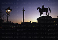 Sunset at Trafalgar Square, London, Great Britain. Photo by Terry Fincher