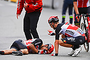 PONTIVY, FRANCE - JUNE 28 : EWAN Caleb (AUS) of LOTTO SOUDAL crashes during stage 3 of the 108th edition of the 2021 Tour de France cycling race, a stage of 183,5 kms between Lorient and Pontivy on June 28, 2021 in Pontivy, France, 28/06/2021