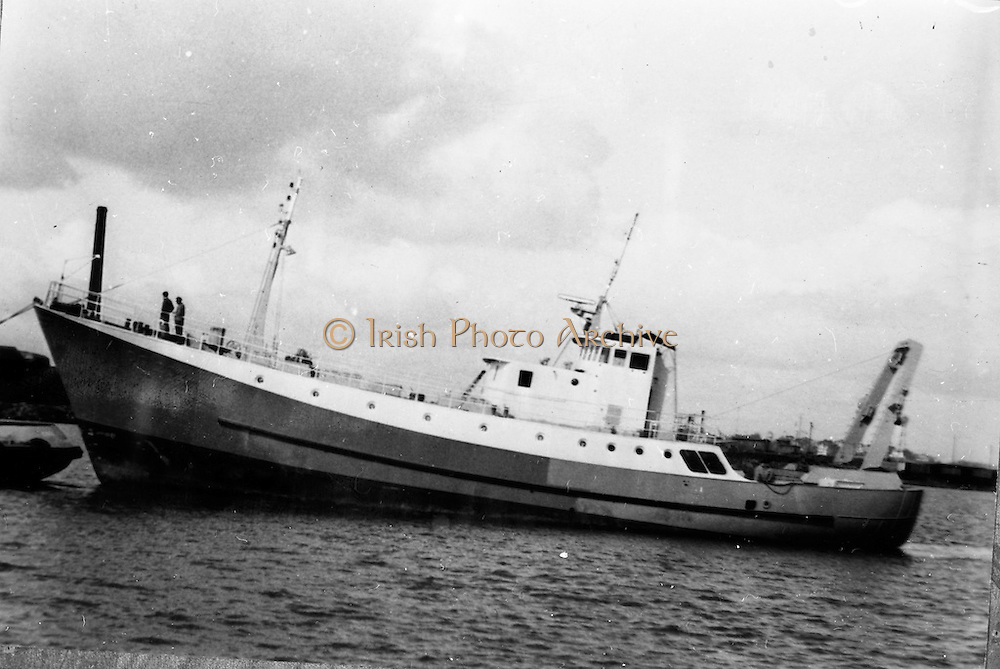 23/06/1965<br /> 06/23/1965<br /> 23 June 1965<br /> Copy of photograph of fishing boat, trawler for Bord Iascaigh Mhara (B.I.M.). Location unknown.<br /> The unknown trawler could be the Miss Trudle or Miss Cicille owned or managed by Clayton Love ltd (William Power comment)