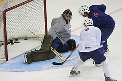 Goalkeeper Robert Kristan and David Rodman at practice of Slovenian national team before Hockey IIHF WC 2008 in Halifax,  on May 01, 2008 in Metro Center, Halifax, Canada.  (Photo by Vid Ponikvar / Sportal Images)