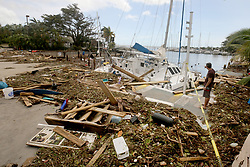 A sailboat crashed and smashed at the Dinner Key Marina in Miami, FL, USA on Monday, September 11, 2017. Photo by Mike Stocker/Sun Sentinel/TNS/ABACAPRESS.COM