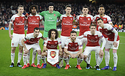 February 21, 2019 - London, Greater London, United Kingdom - Arsenal Team shoot..Back Row:- Stephan Lichtsteiner Alex Iwobi Petr Cech Laurent Koscielny Granit Xhaka and Pierre-Emerick Aubameyang of Arsenal...Front Row:- Henrikh Mkhitaryan Matteo Guendouzi Shkodran Mustafi and Mesui Ozil of Arsenal ..during UEFA Europa League Round of 32 2nd Leg between Arsenal and of Bate Borisov at Emirates stadium , London, England on 20 Feb 2019. (Credit Image: © Action Foto Sport/NurPhoto via ZUMA Press)