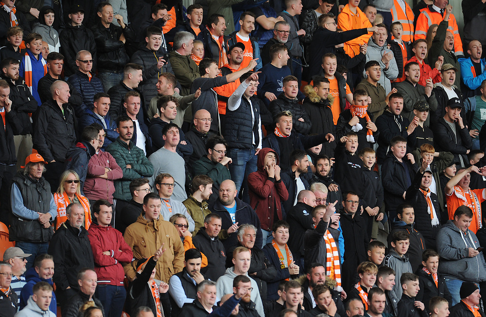 Blackpool fans watch their team in action <br /> <br /> Photographer Kevin Barnes/CameraSport<br /> <br /> The EFL Sky Bet League One - Blackpool v Rotherham United - Saturday 12th October 2019 - Bloomfield Road - Blackpool<br /> <br /> World Copyright © 2019 CameraSport. All rights reserved. 43 Linden Ave. Countesthorpe. Leicester. England. LE8 5PG - Tel: +44 (0) 116 277 4147 - admin@camerasport.com - www.camerasport.com