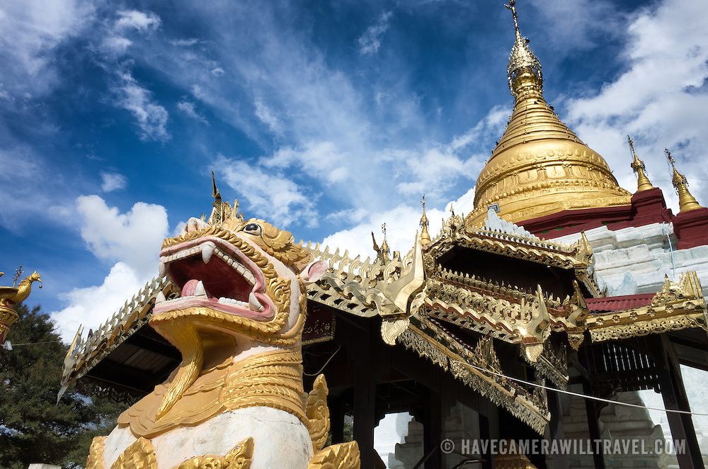 A small but ornate pagoda that sits in an open space in the middle of Taungbi Village in Old Bagan, several blocks in off the main road.