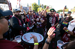 Oct 21, 2019; Sacramento, CA, USA; SRFC fans chant to a drumbeat during a fan celebration event for the new Sacramento Republic FC MLS soccer team at Capital Mall. Mandatory Credit: D. Ross Cameron-USA TODAY Sports