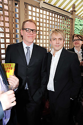 Left to right, BRET EASTON ELLIS and NICK RHODES at a party to celebrate the publication of Imperial Bedrooms by Bret Easton Ellis held at Mark's Club, 46 Charles Street, London W1 on 15th July 2010.