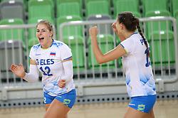 Players of Slovenia celebrate during friendly volleyball match between Slovenia and Azerbaijan, on August 17, 2017 in SRC Stozice, Ljubljana, Slovenia. Photo by Matic Klansek Velej / Sportida