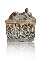 Etruscan Hellenistic style cinerary, funreary, urn ,  National Archaeological Museum Florence, Italy, white background .<br /> <br /> If you prefer to buy from our ALAMY PHOTO LIBRARY  Collection visit : https://www.alamy.com/portfolio/paul-williams-funkystock - Scroll down and type - Etruscan Florence - into LOWER search box. (TIP - Refine search by adding a background colour as well).<br /> <br /> Visit our ETRUSCAN PHOTO COLLECTIONS for more photos to download or buy as wall art prints https://funkystock.photoshelter.com/gallery-collection/Pictures-Images-of-Etruscan-Historic-Sites-Art-Artefacts-Antiquities/C0000GgxRXWVMLyc