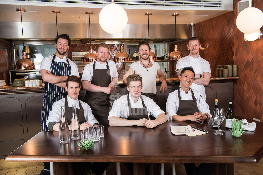 Ollie Dabbous with the senior chefs at Henrietta as part of restaurant review.<br /> Picture by Daniel Hambury/Stella Pictures Ltd 07813022858<br /> 22/05/2017