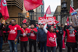London, UK. 19 November, 2019. UCL cleaners, porters and security officers outsourced via Axis and Sodexo and belonging to the Independent Workers of Great Britain (IWGB) trade union begin a strike to end outsourcing and zero hour contracts. The strike is expected to be the largest ever strike of outsourced workers in UK higher education.