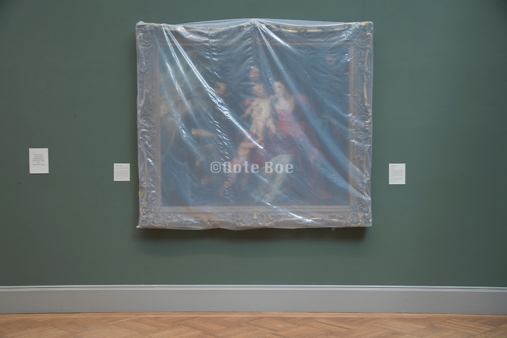 a Rubens painting covered with semi clear plastic for protection Metropolitan Museum of Art New York