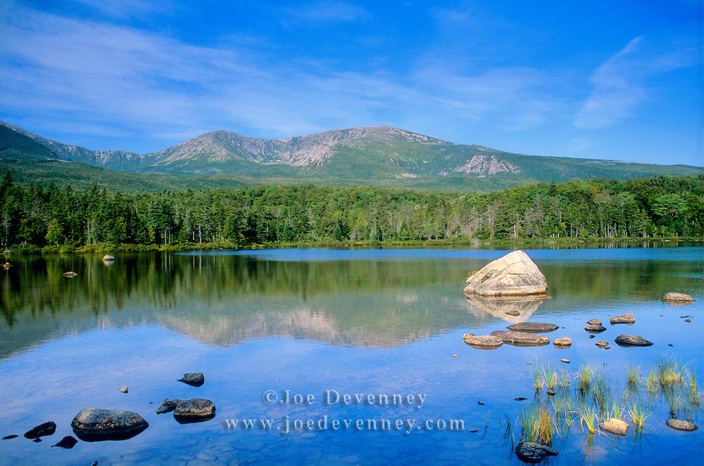 Reflection of Mount Katahdin in Sandy Stream Pond. Baxter State Park. Maine