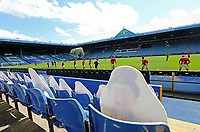Nottingham Forest players go through their pre-match warm-ups in front of cardboard cut-outs replacing real fans in the stands <br /> <br /> Photographer Rich Linley/CameraSport<br /> <br /> The EFL Sky Bet Championship - Sheffield Wednesday v Nottingham Forest - Saturday 20th June 2020 - Hillsborough - Sheffield <br /> <br /> World Copyright © 2020 CameraSport. All rights reserved. 43 Linden Ave. Countesthorpe. Leicester. England. LE8 5PG - Tel: +44 (0) 116 277 4147 - admin@camerasport.com - www.camerasport.com