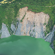 Landslides mar the hillsides above the Tehri Lake, a manmade and controversial lake created by the Tehri Dam.