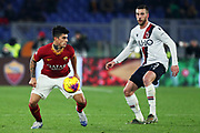 Diego Perotti of Roma (L) and Mattia Bani of Bologna (R) in action during the Italian championship Serie A football match between AS Roma and Bologna FC 1909, Friday, Feb. 7, 2020, at Stadio Olimpico in Rome, Italy. (Federico Proietti/Image of Sport)