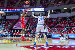 NORMAL, IL - February 22: Keith Fisher III buries a 3 from the top of the key with Liam Robbins out of position and unable to block during a college basketball game between the ISU Redbirds and the Drake Bulldogs on February 22 2020 at Redbird Arena in Normal, IL. (Photo by Alan Look)