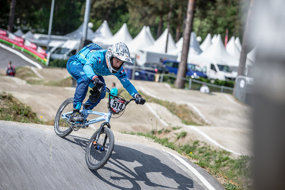 #514 (TOURNEBIZE Tristan) FRA during practice at Round 5 of the 2018 UCI BMX Superscross World Cup in Zolder, Belgium