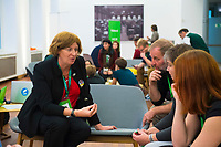 DEU, Deutschland, Germany, Berlin, 24.11.2018: Petra De Sutter, Senator, nominated by Groen (Belgium) talking with participants. Council of the European Green Party (EGP council) at Deutsche Telekom Representative Office.