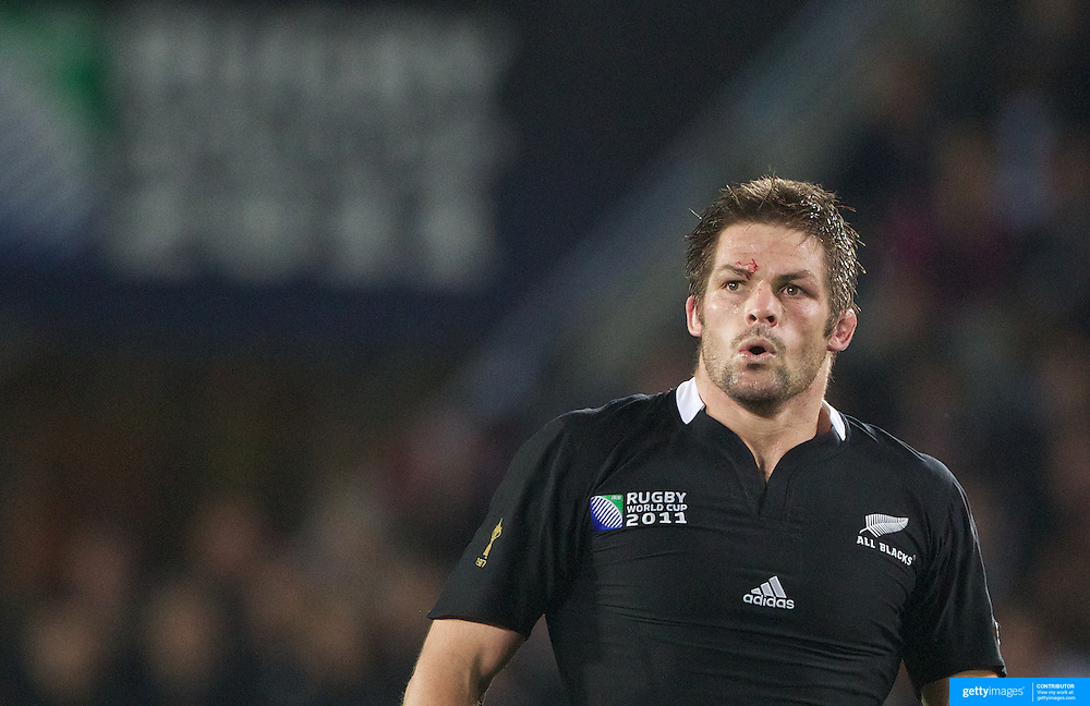 Richie McCaw, New Zealand, playing in his 100th test match in action during the New Zealand V France, Pool A match during the IRB Rugby World Cup tournament. Eden Park, Auckland, New Zealand, 24th September 2011. Photo Tim Clayton...