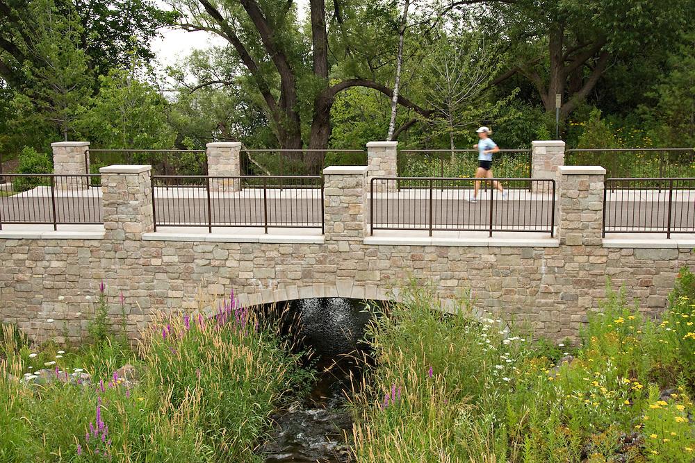 A scenic bridge along the bike path on the waterfront of Marquette Michigan.