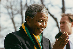 NELSON ROLIHLAHLA MANDELA (July 18, 1918 - December 5, 2013) world renowned civil rights activist and world leader dies at 95. Mandela emerged from prison to become the first black President of South Africa in 1994. As a symbol of peacemaking, he won the 1993 Nobel Peace Prize. Joined his countries anti-apartheid movement in his 20s and then the ANC (African National Congress) in 1942. For next 20 years, he directed a campaign of peaceful, non-violent defiance against the South African government and its racist policies and for his efforts was incarcerated for 27 years. PICTURED: Mar 12, 1990 - Stockholm, Sweden - NELSON MANDELA during a visit to Stockholm. (Credit Image: © Aftonbladet/IBL/ZUMAPRESS.com)