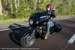 Indian Motorcycles' AJ Smyth riding a 2017 Indian Chieftain Limited during Daytona Beach Bike Week. FL, USA. Friday March 10, 2017. Photography ©2017 Michael Lichter.
