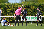 Match referee John Rowbury shows a yellow card in the Handa Premiership football match, Hawke's Bay United v Hamilton Wanderers, Bluewater Stadium, Napier, Sunday, November 15, 2020. Copyright photo: Kerry Marshall / www.photosport.nz