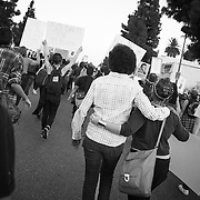 """Black and White protesters together on the streets of Los Angeles demonstrating against the decision in Ferguson, Missouri to not indict police officer in the shooting death of unarmed, black teenager Mike Brown. These Photographs And More Are Available in Color. Please Search for """"Ferguson"""""""