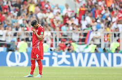 MOSCOW, June 23, 2018  Anice Badri of Tunisia reacts after the 2018 FIFA World Cup Group G match between Belgium and Tunisia in Moscow, Russia, June 23, 2018. Belgium won 5-2. (Credit Image: © Xu Zijian/Xinhua via ZUMA Wire)