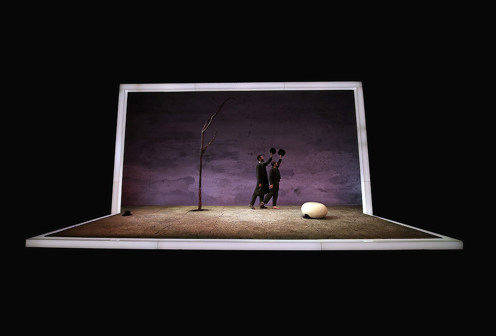 The critically acclaimed  Druid production of 'Waiting for Godot', Written by renowned Irish playwright, Samuel Beckett, Directed by Garry Hynes, Artistic Director of Druid Theatre. Druid Ensemble; for Waiting for Godot, Garrett Lombard, (Lucky), Aaron Monaghan, (Estragon), Rory Nolan (Pozzo)) and Marty Rea (Vladimir).Photo:Valerie O'Sullivan/FREE PIC***/NO REPRO FEE