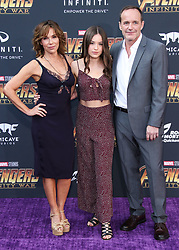 HOLLYWOOD, LOS ANGELES, CA, USA - APRIL 23: World Premiere Of Disney And Marvel's 'Avengers: Infinity War' held at the El Capitan Theatre, Dolby Theatre and TCL Chinese Theatre IMAX on April 23, 2018 in Hollywood, Los Angeles, California, United States. 23 Apr 2018 Pictured: Jennifer Grey, Stella Gregg, Clark Gregg. Photo credit: Xavier Collin/Image Press Agency / MEGA TheMegaAgency.com +1 888 505 6342
