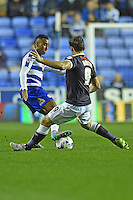 Reading's Jordan Obita (L) vies for possession with Derby County's Chris Martin (R)<br /> <br /> Reading 0 - 1 Derby County <br /> <br /> Photographer David Horton/CameraSport<br /> <br /> Football - The Football League Sky Bet Championship - Reading v Derby County - Tuesday 15th September 2015 - Madejski Stadium - Reading<br /> <br /> © CameraSport - 43 Linden Ave. Countesthorpe. Leicester. England. LE8 5PG - Tel: +44 (0) 116 277 4147 - admin@camerasport.com - www.camerasport.com