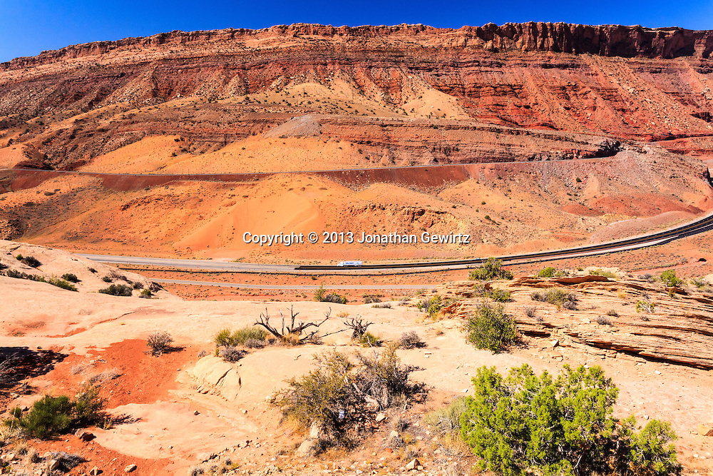 US Route 191 passes through the Moab Fault on the western side of Arches National Park, Utah. WATERMARKS WILL NOT APPEAR ON PRINTS OR LICENSED IMAGES.