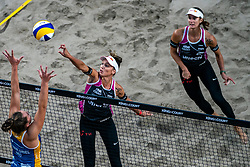 Anouk Verge Depre SUI, Jorna Heidrich SUI in action during the last day of the beach volleyball event King of the Court at Jaarbeursplein on September 12, 2020 in Utrecht.