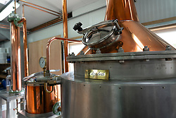 Gin stills at  Dunnet Bay Distillery in Caithness on  the North Coast 500 scenic driving route in northern Scotland, UK