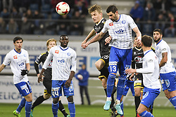 November 29, 2017 - Gent, BELGIUM - Lokeren's Jakov Filipovic and Gent's Stefan Mitrovic fight for the ball during a Croky Cup 1/8 final game between KA Gent and Sporting Lokeren, in Gent, Wednesday 29 November 2017. BELGA PHOTO LAURIE DIEFFEMBACQ (Credit Image: © Laurie Dieffembacq/Belga via ZUMA Press)