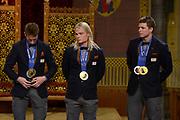 Officiele Huldiging van de Olympische medaillewinnaars Sochi 2014 / Official Ceremony of the Sochi 2014 Olympic medalists.<br /> <br /> Op de foto:  Schaatsers Jan Blokhuijsen en Koen Verweij  krigen de onderscheiding van Ridder in de Orde van Oranje-Nassau , Sven Kramer kreeg een beeldje omdat ze deze onderscheiding al heeft