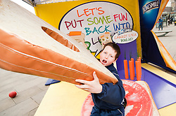 The Kingsmill Big Lunch Tour reaches Sheffield and puts the fun back into lunchtimes Louis Day (12) tries out the Giant Sandwich in the Kingsmill Playzone in Fargate Sheffield on Wednesday...http://www.pauldaviddrabble.co.uk.11 April 2012 .Image © Paul David Drabble
