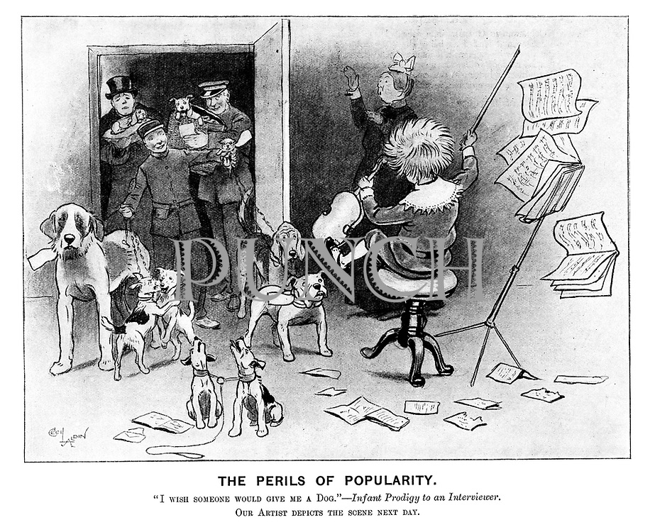 """The Perils of Popularity. """"I wish someone would give me a Dog.""""—Infant Prodigy to an Interviewer. Our Artist depicts the scene next day."""