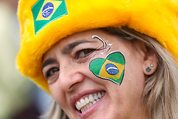 A Brazil fan shows her support ahead of the FIFA World Cup Group E match at Saint Petersburg Stadium, Russia.