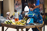 Woman selling fruits and vegetables at the market in the town of Kayes, Mali on Thursday September 2, 2010.