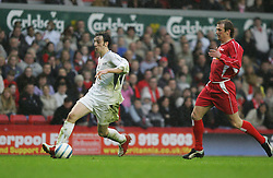 LIVERPOOL, ENGLAND - SUNDAY MARCH 27th 2005: Celebrity XI's Ralf Little during the Tsunami Soccer Aid match at Anfield. (Pic by David Rawcliffe/Propaganda)