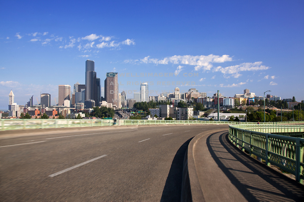 Image of the downtown Seattle skyline from the I-5 freeway, Seattle, Washington, Pacific Northwest by Randy Wells
