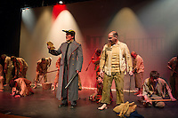 Javert (Rodney Martell) and Jean Valjean (Scott Alward) during the Streetcar Company's dress rehearsal for Les Miserables at Inter Lakes High School auditorium Monday evening.  (Karen Bobotas/for the Laconia Daily Sun)