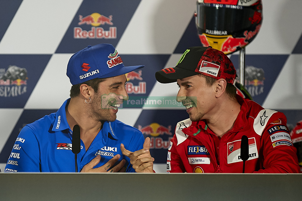May 3, 2018 - Jerez De La Frontera, Cadiz, Spain - 29 Andrea Iannone (Italian) Team Suzuki Ecstar  and #99 Jorge Lorenzo (Spanish) Ducati Team in the press conference before of the Gran Premio Red Bull of Spain, Circuit of Jerez - Angel Nieto, Jerez de la Frontera, Spain. Thursday, 03rd May, 2018. (Credit Image: © Jose Breton/NurPhoto via ZUMA Press)