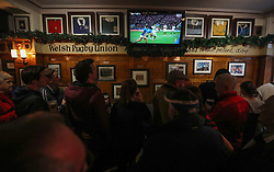Fans watch England v Samoa in a pub in Cardiff before Wales take on New Zealand in the Autumn International at the Principality Stadium, Cardiff.