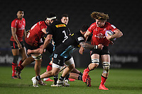 Rugby Union - 2020 / 2021 European Rugby Challenge Cup - Round of 16 - Harlequins vs Ulster - The Stoop<br /> <br /> Ulster Rugby's Jordy Reid evades the tackle of Harlequins' Simon Kerrod.<br /> <br /> COLORSPORT/ASHLEY WESTERN