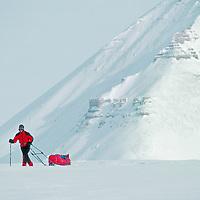 An expedition skier descends Nordenskjold Glacier, Spitsbergen Island, Svalbard, Norway.